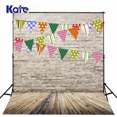 Kate Digital Printing Photography Backdrops Brick Wall Wood Floor Background Colorful Flags For Children Backdrop