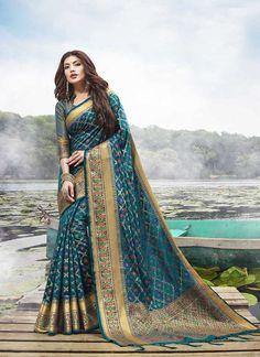 Sareetag Teal Blue Latest festive Wear Designer Jacquard Silk Saree – SareeTag