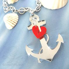LOST AT SEA - Silver Mirror Anchor and Red Heart Laser Cut Acrylic Charm Necklace