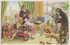 Cats in the Photo Studio - Eugen Hartung - Illustrator For Alfred Manzier Postcards