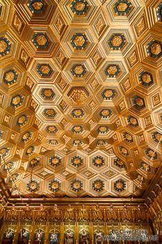 Ornate ceiling in the Alcazar castle in Segovia
