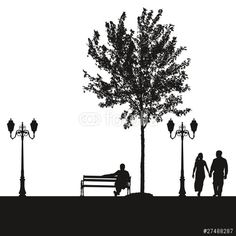 Vector: City landscape silhouettes of black street