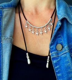 Excited to share the latest addition to my #etsy shop: Charm Choker Sterling Silver charms choker Black cord choker Women necklace Adjustable Cord Long necklace Stars necklace http://etsy.me/2Cii8Rf #jewelry #necklace #black #silver #girls #yes #starscelestial #boho #c