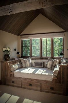 I want a room like this in my house .... I can take a nap by the window or read a book.... Look this window nook idea!!!