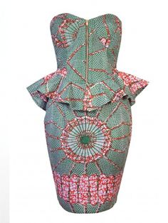 Robyn Print Print Peplum Detail Bustier Dress