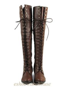 Brown-Leatherette-Hip-n-Cool-Urban-Over-the-Knee-Thigh-High-Lace-Up-Flat-Boots