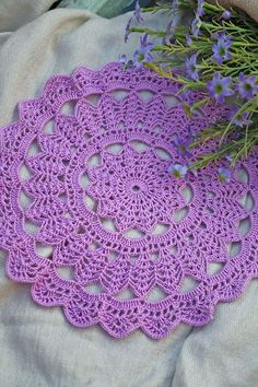 Doilies Handmade Purple Crochet Doily inch by MOVAStudio on Etsy Free Crochet Doily Patterns, Crochet Mandala, Crochet Squares, Crochet Motif, Crochet Designs, Crochet Flowers, Filet Crochet, Crochet Table Topper, Crochet Tablecloth