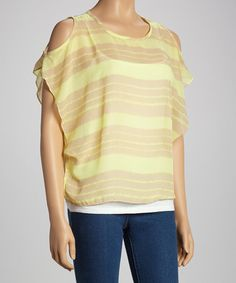 Take a look at this Lemon Stripe Sleeveless Cutout Top - Women by Adrienne on #zulily today!
