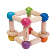 This Square clutching toy comes with 2 wooden rings that creates a sound when rattled. This enhances fine motor skills while child grasps and rattles. Suitable for children 6 months and up. Cubes, Childrens Shop, Plan Toys, Wooden Baby Toys, Baby Learning, Wooden Rings, Infant Activities, Classic Toys, Organic Baby