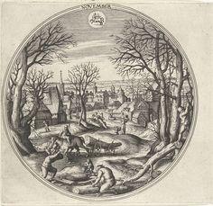 Adriaen Collaert   November, Adriaen Collaert, Hans Bol, Hans van Luyck, 1578 - 1582   Ronde lijst met een herfstlandschap met najaarstaferelen. Centraal staat het kappen van hout voor de winter. Op de achtergrond wordt het hout naar de stad gebracht. Middenboven het sterrenbeeld Boogschutter. De prent is deel van een twaalfdelige serie over de twaalf maanden.