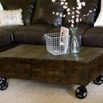 Rolling cart coffee table - Love this website!  DIY knock-offs of items from restoration hardware, pottery barn, ballard design, etc.