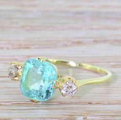 Victorian 2.90 Carat Paraiba Tourmaline & Old Cut Diamond Trilogy Ring, 18k Gold by GatsbyJewels on Etsy