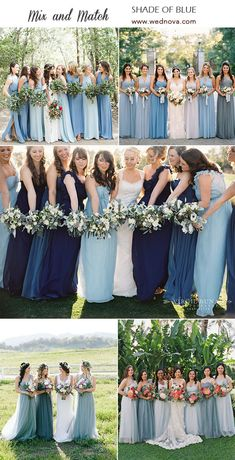 Mix and Match Bridesmaid Dresses Done Right: 7 Ways to Rock the Trend ! - Mix and Match Bridesmaid Dresses Done Right: 7 Ways to Rock the Trend! Mix Match Bridesmaids, Light Blue Bridesmaid Dresses, Mismatched Bridesmaid Dresses, Wedding Bridesmaid Dresses, Wedding Dresses, Maxi Dresses, Sky Blue Weddings, Facon, Wedding Colors