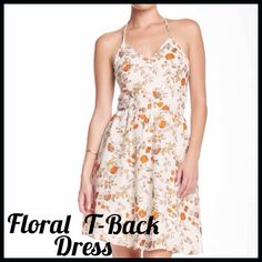 """Floral Print T-Back Dress Collective Concepts Floral Print T-Back Dress- - V-neck - Spaghetti straps - Side zip closure - Strappy t-back detail - Allover print - Lined - Approx. 36"""" length Collective Concepts Dresses"""