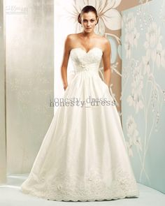 Paloma Blanca Wedding Dresses 4154 Pocket A Line Lace Sweetheart Sweep Train Handmade Flower Taffeta