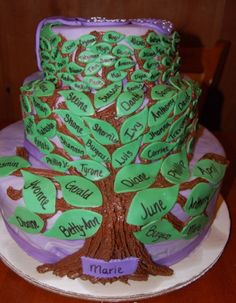 Family Tree 80th Birthday Cake Idea.  See more cake and party ideas at one-stop-party-ideas.com.