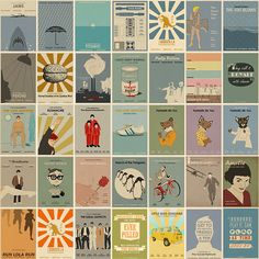 A fabulous collection of Classic and Current Movie posters of films directed by Wes Anderson, Alfred Hitchcock, Quentin Tarantino and more re-imagined in a minimalist modern style by Joseph Chiang of Monster Gallery.