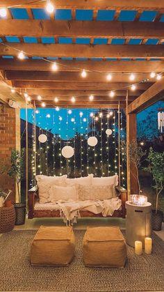 Backyard Patio Designs, Backyard Landscaping, Backyard Pools, Patio Ideas, Backyard Porch Ideas, Outdoor Ideas, Cozy Backyard, Porch Garden, Balcony Ideas