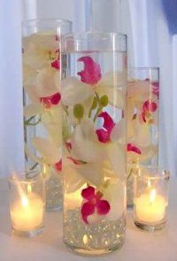 Set Of 9 Custom Submerged Flower Centerpieces With Glass Cylinder Vases And Floating Candles You