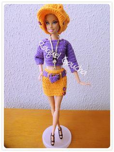 #Cléa1000 #Cléa5 #Saia #Blusa #Boina #Sombrero #Cinto Crochet Muñeca #Doll #Barbie #RaquelGaucha
