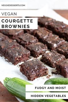 Try these unbelievably moist, rich, fudgy and delicious (courgette) Zucchini Brownies! It's an easy 1-bowl recipe that's vegan, eggless and dairy-free. Rich and delicious chocolate brownies with hidden vegetables! Healthy School Snacks, Healthy Vegan Desserts, Vegan Dessert Recipes, Vegan Snacks, Brownie Recipes, Easy Desserts, Hidden Vegetable Recipes, Vegetable Cake, Hidden Vegetables