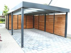 carport 05 - What should be considered when building a modern garage? If you don't already have a garage in. Carport Sheds, Carport Plans, Carport Garage, Pergola Carport, Diy Pergola, Building A Carport, Corner Pergola, Garage House, Pergola Kits