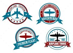 Airplane Tours and Adventures Badges #jpg #image #aircraft #label • Available here → https://graphicriver.net/item/airplane-tours-and-adventures-badges/9602121?ref=pxcr