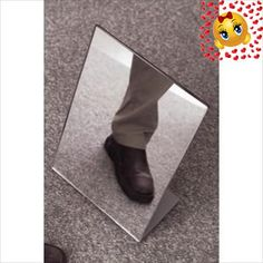 #homefurniture This #shoe #store mirror is 12 x 18 (W x D). The stand is easy to move around the showroom floor. This shoe store mirror is sleek and modern lookin...