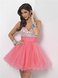 Pink Tulle Homecoming Dress - http://prombelles.com/2013/07/08/pink-tulle-homecoming-dress/