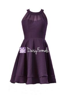 Plum Knee Length Party Dress Sexy Eggplant Chiffon Special Occasion Dr – DaisyFormals-Bridesmaid and Formal Dresses in 59+ Colors