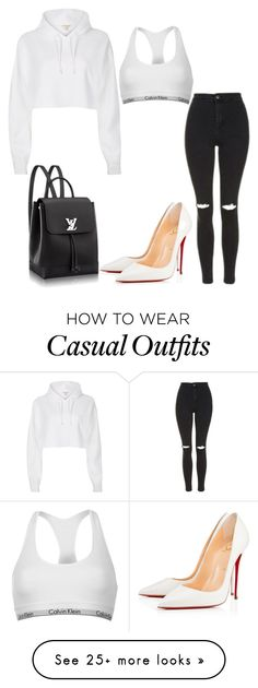"""""""Casually Chic"""" by mpowery on Polyvore featuring River Island, Calvin Klein, Topshop and Christian Louboutin"""