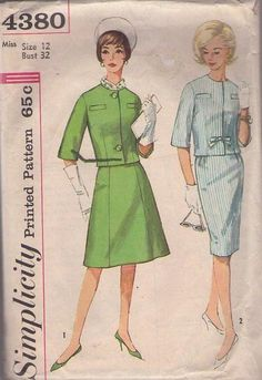 MOMSPatterns Vintage Sewing Patterns - Simplicity 4380 Vintage 60's Sewing Pattern CHIC Jackie O Mad Men Secretary 2 Piece Suit Dress, Jcaket Top, A-Line or Sheath Skirt Size 12