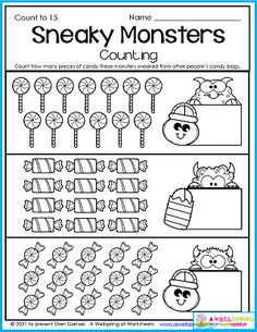 You'll find this Sneaky Monsters page in my AWESOME Halloween Counting Worksheets for Kindergarten 30 page set. Kids count to 5, count to 10, count to 15 and count to 20, as well as color by number, trace the numbers, and more! In this worksheet kids count how many candies these monsters sneaked from friends and family. Please check out the set! Halloween Math Worksheets, Counting Worksheets For Kindergarten, Alphabet Tracing Worksheets, Number Worksheets, Kids Count, 10 Count, Upper And Lowercase Letters, Lower Case Letters, Counting For Kids