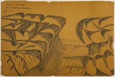 Joseph Yoakum    Fertil Mounds Near Wyanoka, Oklahoma  , 05/30/1964 Ink and graphite on paper 12 x 17.75 inches 30.5 x 45.1 cm JY 29