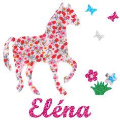 Appliqué thermocollant personnalisé cheval rose papillons et fleurs de la boutique NanouCadeaux sur Etsy