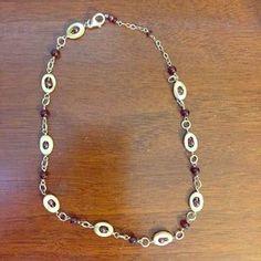 Sterling silver, garnet & abalone necklace.