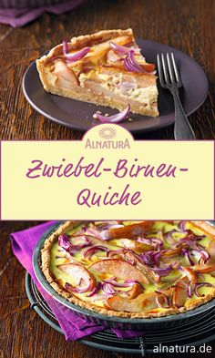 Onion and pear quiche - Delicious quiche with red onions and pears. The crispy quiche dough is baked with spelled flour and - Mexican Breakfast Recipes, Brunch Recipes, Fall Recipes, Great Recipes, Quiches, Vegetarian Recipes, Healthy Recipes, Breakfast Casserole, Food Hacks