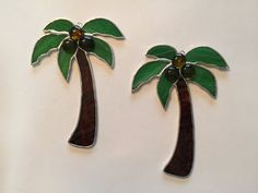 Handmade Stained Glass Palm Tree Suncatcher with Coconuts by QTSG
