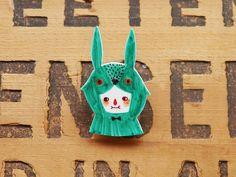 Sea Green Rabbit Shrink Plastic Brooch by Minifanfan