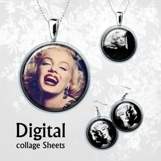 Digital Collage Sheet . Marilyn Monroe . от MyMidnightMoon на Etsy, $3.70