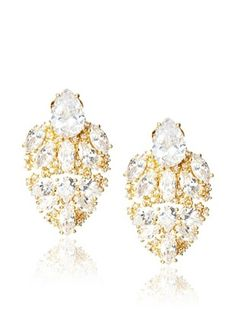 70% OFF CZ by Kenneth Jay Lane Shield Clip-On Earrings