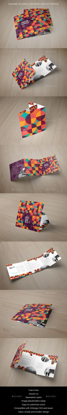 Square Colorful Pattern Circles Trifold