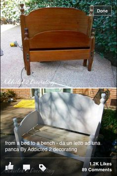 Old head board & foot board made into cute bench