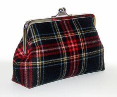 Wool Clutch - Black Stewart Tartan Plaid - Pendleton Wool. $60.00, via Etsy.