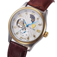 Tevise automatic mechanical watch with brown leather bracelet, white face with a golden bezel and a moonphase complication. Mechanical Watch, Moon Phases, Cool Suits, Brown Leather, Watches, Bracelets, Face, Accessories, Bangles