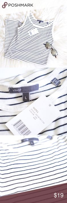 Vince Striped Tank Top New with tags and brand new tank top from Vince. Retails for $68. Soft ribbed fabric in a classic strappy tank style. Striped all over. Size large. Vince Tops Tank Tops