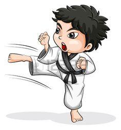 Ilustración de un jugador de taekwondo asiática en un fondo blanco