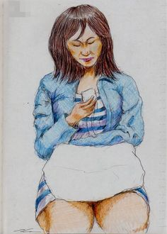 Gジャンのお姉さん(通勤電車でスケッチ) It is a woman of sketch wearing a denim jacket.  I drew in a commuter train.