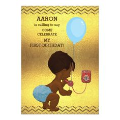 1st Birthday Ethnic Boy Phone Balloon Gold Chevron Card