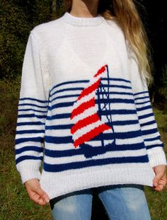 Vintage Sail Boat Sweater 70s Red White and Blue by SurfandtheCity